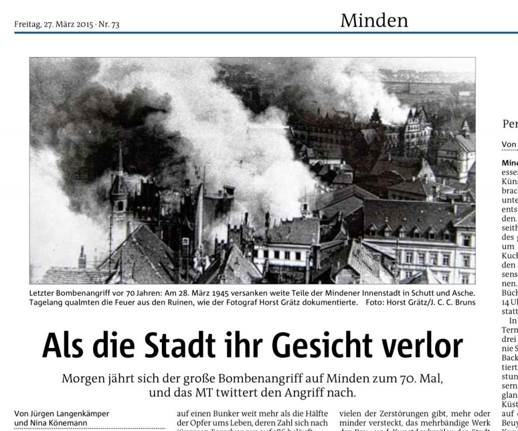 Mit diesem Artikel kündigt die MT-Redaktion heute die ausführliche Berichterstattung über den Bombenangriff vom 28. März 1945 an. Der wird auch multimedial aufbereitet werden. Repro: MT