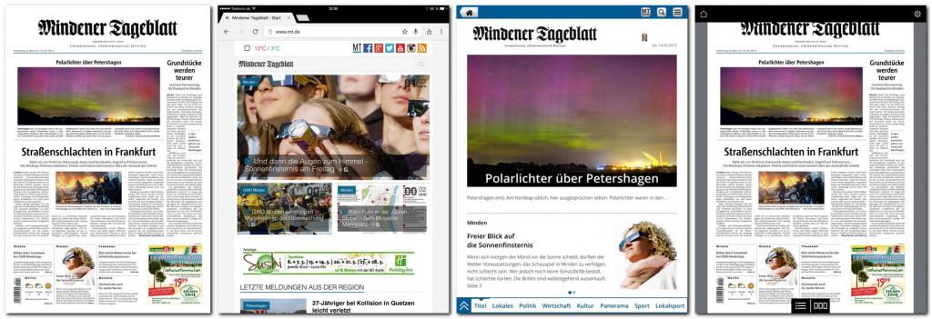 Ob aus (v.l.) der Zeitung, dem Onlineangebot, der HTML-App oder dem PDF-ePaper: immer wieder gibt es Anfragen, MT-Artikel an anderer Stelle weiterzunutzen bzw. wiederveröffentlichen zu dürfen. Das entsprechende Regelwerk wurde jetzt aktualisiert. Repro: MT