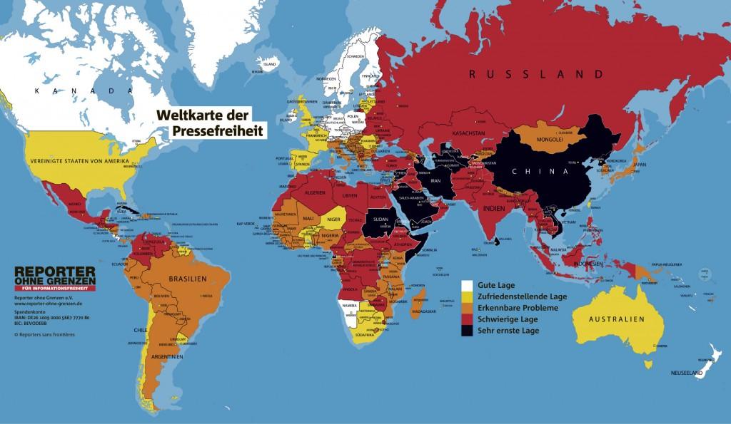 """Die aktuelle """"Weltkarte der Pressefreiheit"""" laut Einordnung durch """"Reporter ohne Grenzen"""". Grafik: ROG/MT, Repro: MT"""