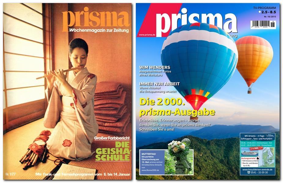 Jubiläum: Von Ausgabe 1/1977 bis Ausgabe 18/2015  hat die Prisma-Redaktion genau 2000 Hefte des wöchentlichen TV-Magazins zur Tageszeitung produziert. Repro: MT