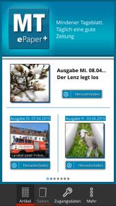 Startseite der App ePaper+ in der Artikelansicht für Apple-Smartphone (iOS). Repro: MT