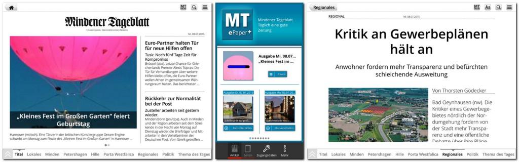 Zeitung lesen - das geht auch auf Tablet oder Smartphone. Und zwar nicht nur als digitales Spiegelbild der gedruckten Seiten, sondern auch in geräteoptimierter Darstellung....