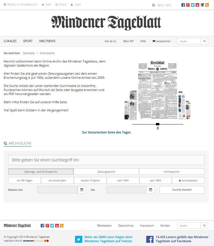 Die Startseite des Online-Archivs. Die Beispielseiten im Slider lassen sich per Mausrad auswechseln. Repro MT