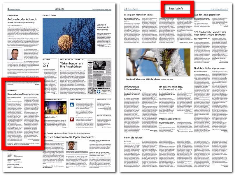 """Das MT veröffentlicht täglich auf der Seite 2 (unserer """"Dialogseite"""") einen Leserbrief direkt unter dem Kommentar der Redaktion. Je nach Anfall und Platzverhältnissen werden weitere Leserbriefe zusammengefasst zu größeren Stücken oder ganzen Seiten zusätzlich ins Blatt gehoben. Repro: MT"""
