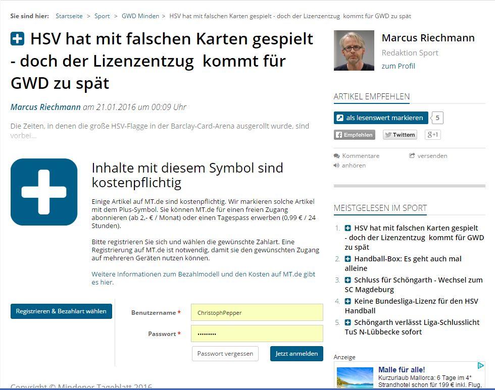 """Mit einem """"Plus""""-Zeichen macht MT.de seit 2014 auf kostenpflichtige Inhalte aufmerksam. Repro: MT"""