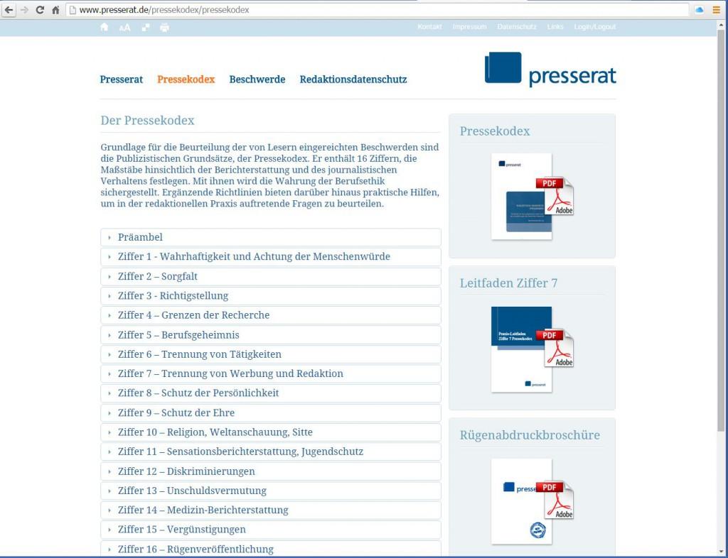 Der Pressekodex des Deutschen Presserates, Grundlage für Entscheidungen von  Leser-Beschwerden über presseethische Verfehlungen. Repro: MT