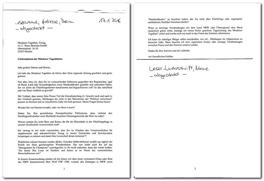 Dieser Brief erreichte die Chefredaktion am 20. Januar 2016