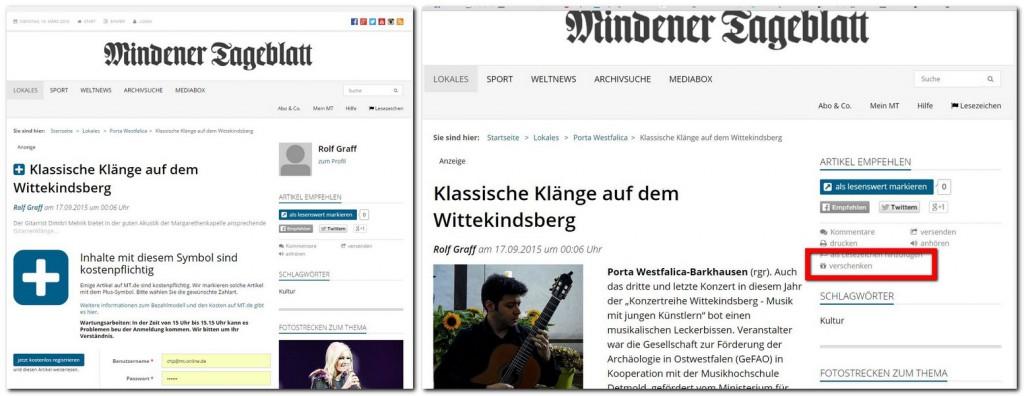 Kostenpflichtige Artikel (Plus-Inhalte, links) auf MT.de können von Abonnenten künftig verschenkt werden. Dafür gibt es einen neuen Funktionsbutton im Atikelmenü (rechts). Repro: MT