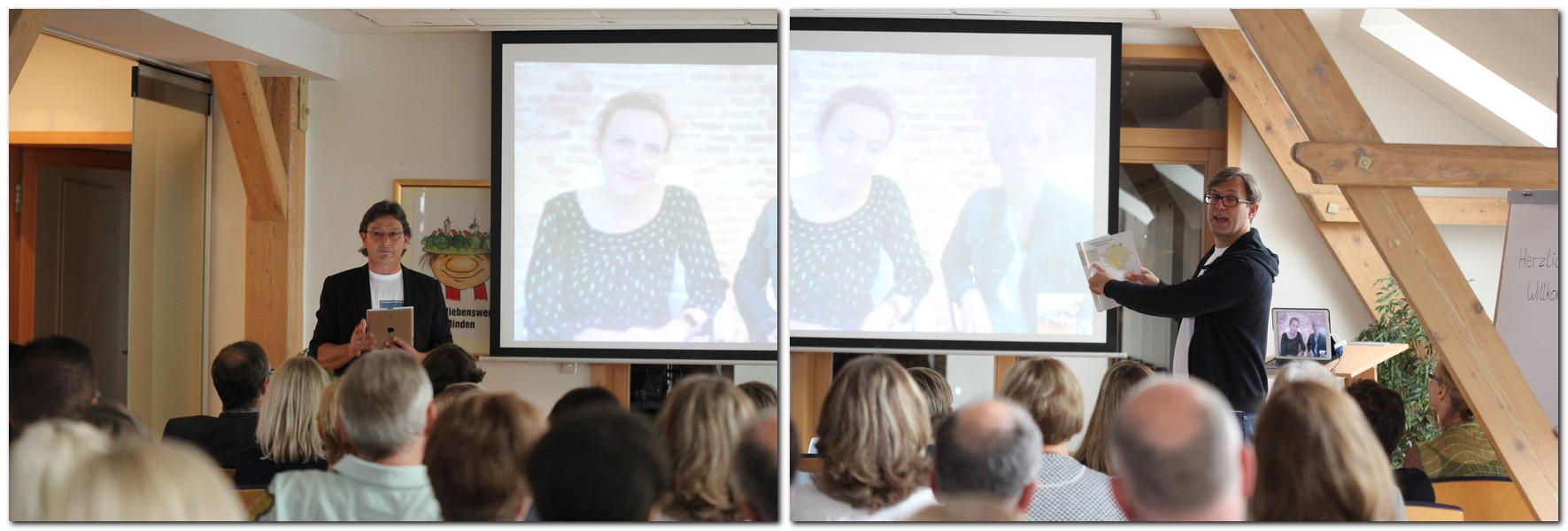 """Per Skype auf der Beamer-Leinwand dabei: die Berliner """"Mediate""""-Frauen Katja Nettesheim und Kerstin von Appen. Rechts Carsten Lohmann, links Christoph Pepper. Foto: Külbel"""