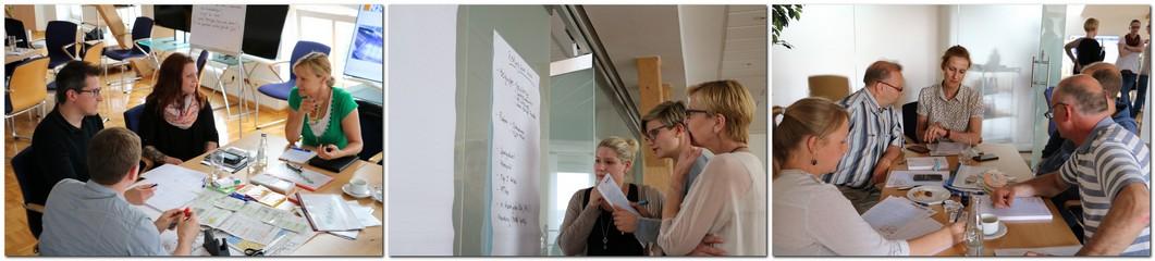 Am dritten Projekttag entwickelte eine abteilungsübergreifend besetzte Ideenwerkstatt konkrete Pläne und Verbesserungen für digitale Produkte des Verlages. Fotos: Könemann