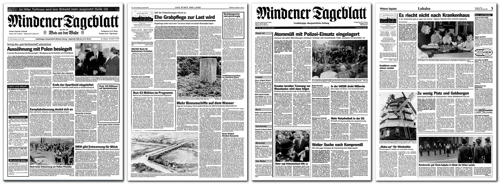Titelseite und Seite Drei vorher und nachher: Die letzte Ausgabe des Mindener Tageblatts im seit der Gründung 1856 gepflegten klassischen Schachtelumbruch erschien am Dienstag, 18. Juni 1991 (links), dann hielt der Blockumbruch Einzug. Repro: MT