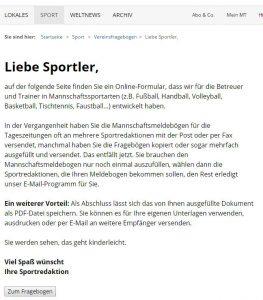 Das Ausfüllen des Online-Fragebogens ist ganz einfach, verspricht die Sportredaktion. Repro: MT