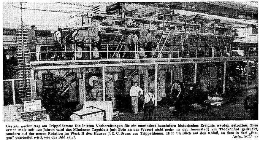 """Drei Stockwerke hoch war die """"neue"""" Rotationdsdruckmaschine, auf der das MT seit 24. August 1976 am neuen Druckstandort Trippeldamm hergestellt wurde. Repro: MT"""