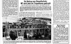"""Im zeittypischen Schachtel-Umbruch berichtet das MT am 25. August 1976 über die Inbetriebnahme der neue Rotation am Trippeldamm - samt Foto vom """"Koloss"""". Repro: MT"""