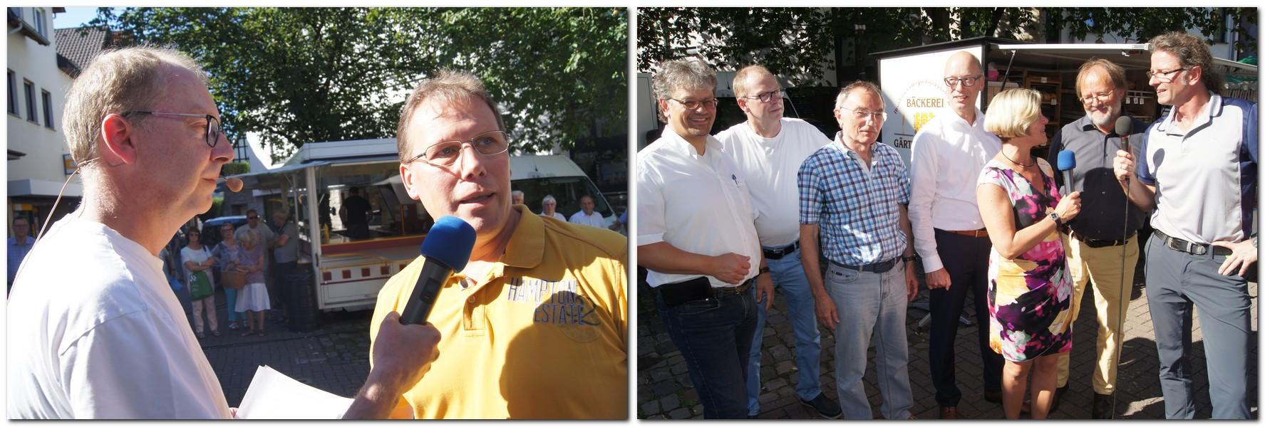 Carsten Korfesmeyer (ganz links) und Dirk Haunhorst (ganz rechts) trotzten gemeinsam mit ihren Intreviepartnern den hitzerekordverdächtigen Außentemperaturen beim MT-Stadtgespräch in Hausberge. Fotos: Stefan Lyrath.