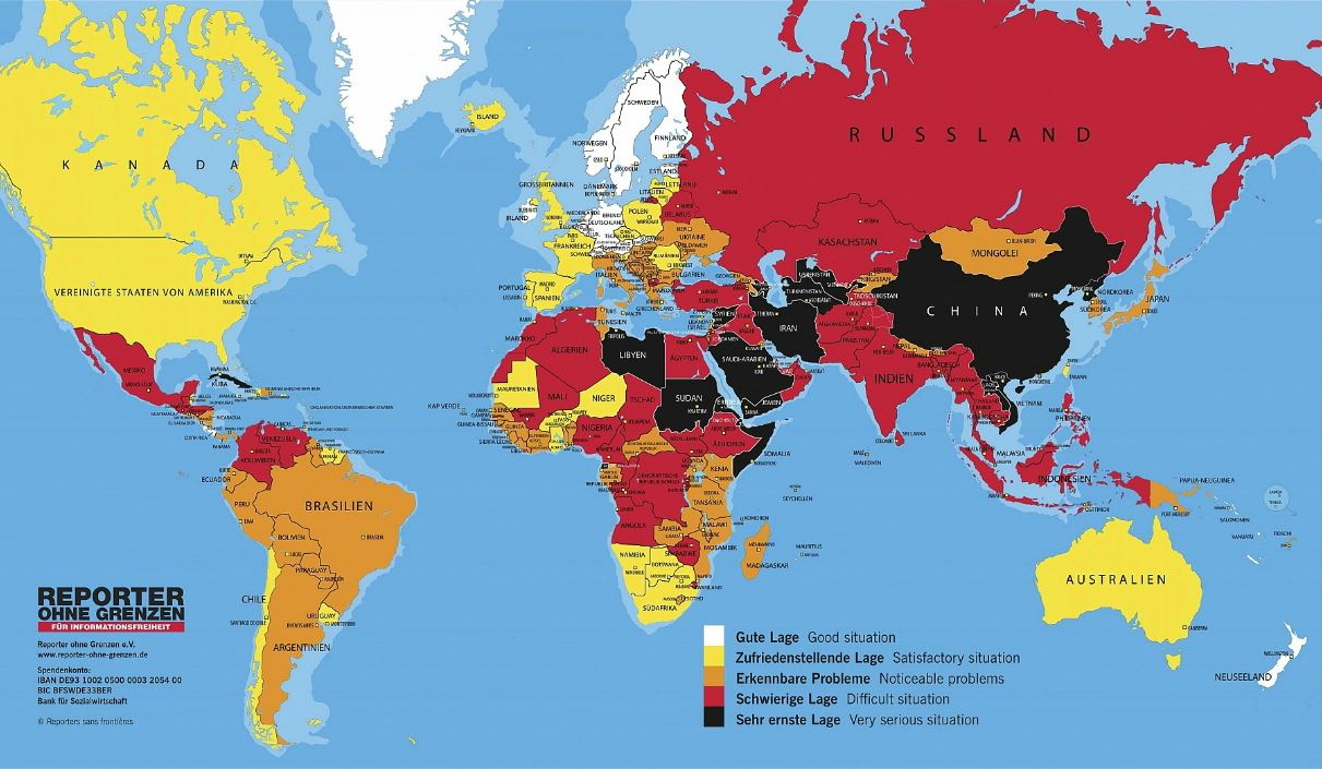 """Die """"Weltkarte der Pressefreiheit 2016"""" nach den Erkenntnissen von """"Reporter ohne Grenzen"""", auf der Homepage gibt es eine interaktive Variante. Grafik: ROG."""