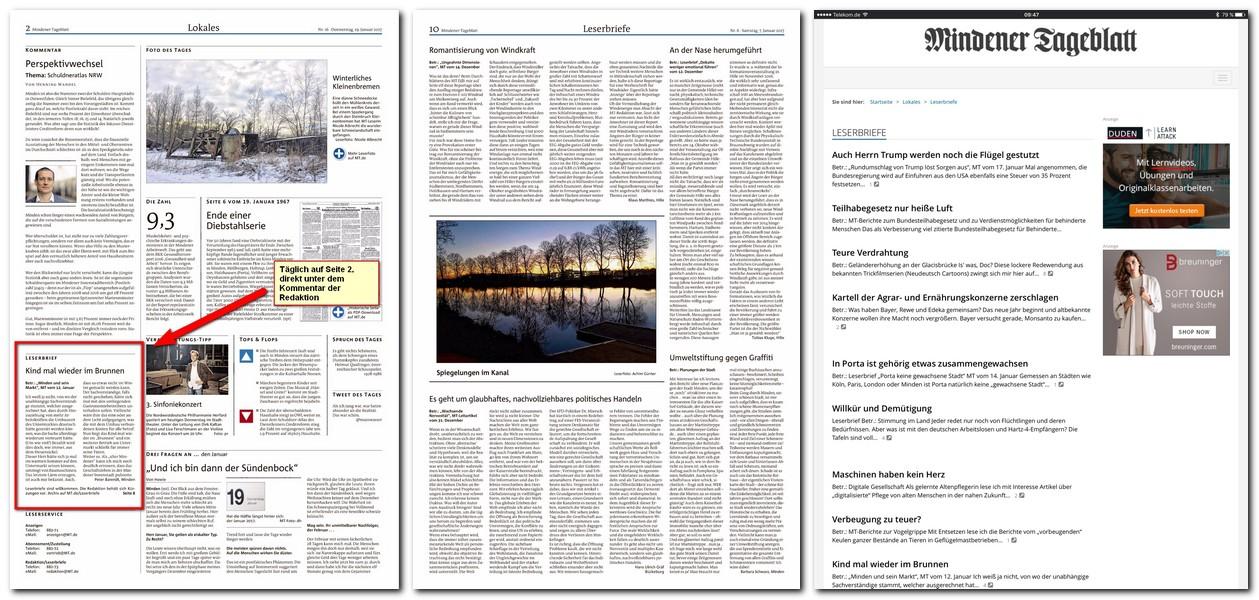 Leserbriefe werden nach Eingang und Freigabe sofort in Online, täglich mindesteness einmal auf der Seite 2 der gedruckten Ausgabe sowie dort je nach Bedarf und Platz auf zusätzlichen Seiten veröffentlicht. Reprto: MT