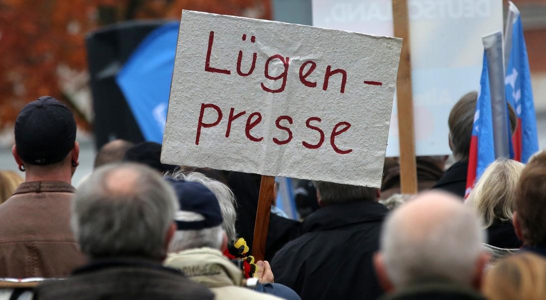 Anhänger der Alternative für Deutschland (AfD) demonstrieren 2015 in Rostock (Mecklenburg-Vorpommern) gegen die deutsche Asylpolitik. Foto: Bernd Wüstneck/dpa (Archiv)