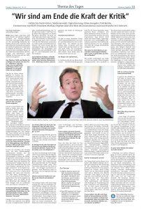 Print und online: Das Döpfner-Interview in der Version für die gedruckte MT-Ausgabe fällt aus Platzgründen um einige Fragen und Antworten kürzer aus. Repro: MT