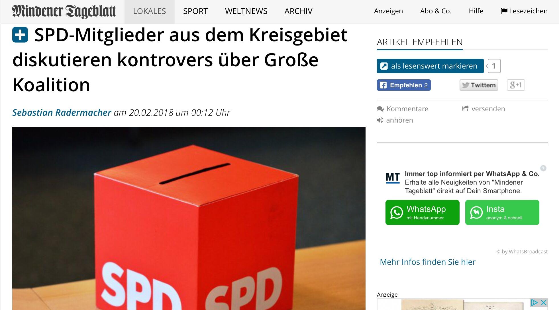 Wie diskutiert die SPD an der Basis über die GroKo? Inhalte mit lokalem Bezug treffen im Netz zunehmend auf die Bereitschaft von Nutzern, dafür auch zu bezahlen. Beim MT gibt's das Online-Abo in Kombination mit der Printausgabe für 2 Euro/Monat, ohne weitere Kombis kostet es 9,90/Monat. Foto: DPA