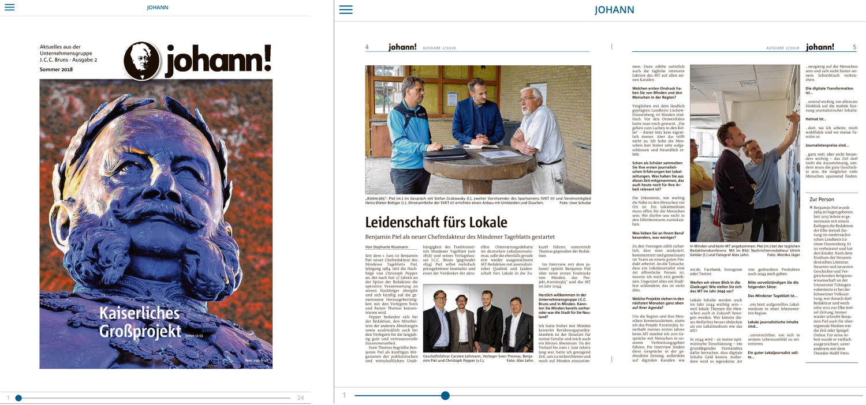 Die Juni-Ausgabe des Johann! Hier in der ePaper-Ansicht. Fotos: MT